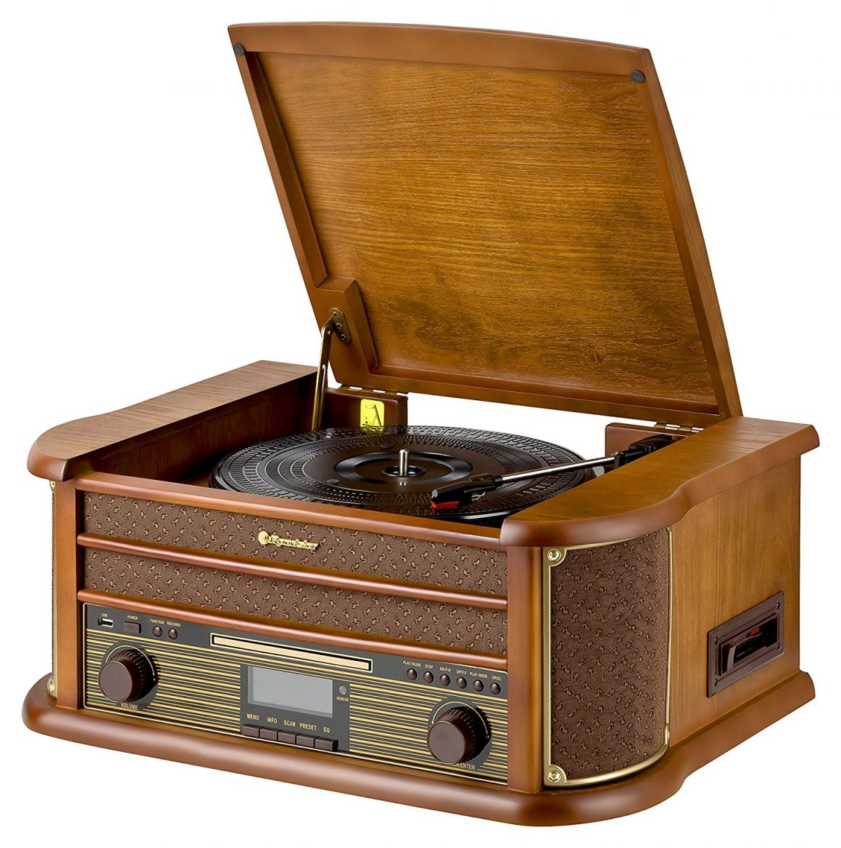 Roadstar Wooden Retro Style Radio-CD-MP3-Turntable